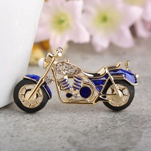 Jewelry - Crystals Blue Enamel Motorcycle Brooch